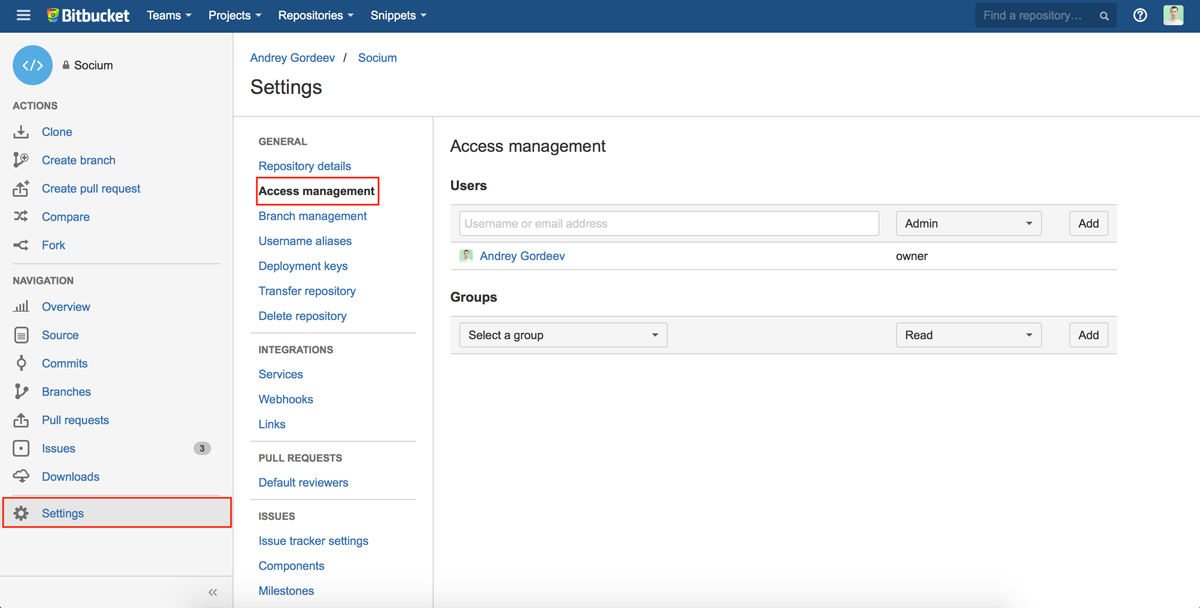 Bitbucket: share repository with the developer